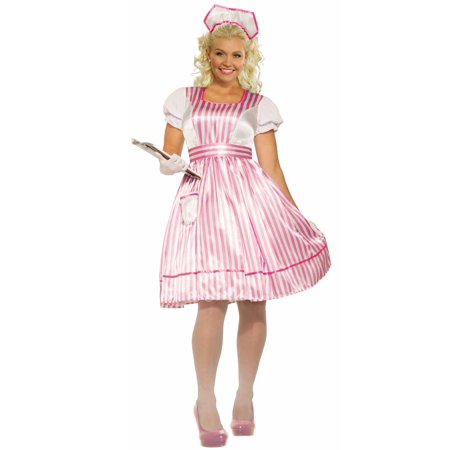 Candy Striper Womens Adult Hospital Volunteer Halloween Costume-Plus