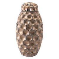 Hammered Large Covered Jar Bronze