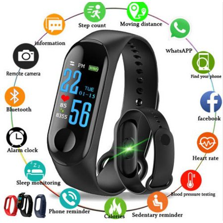 Bluetooth Smart Watch Pedometer Sleep Health Heart Rate Monitor For Android IOS-Black ()