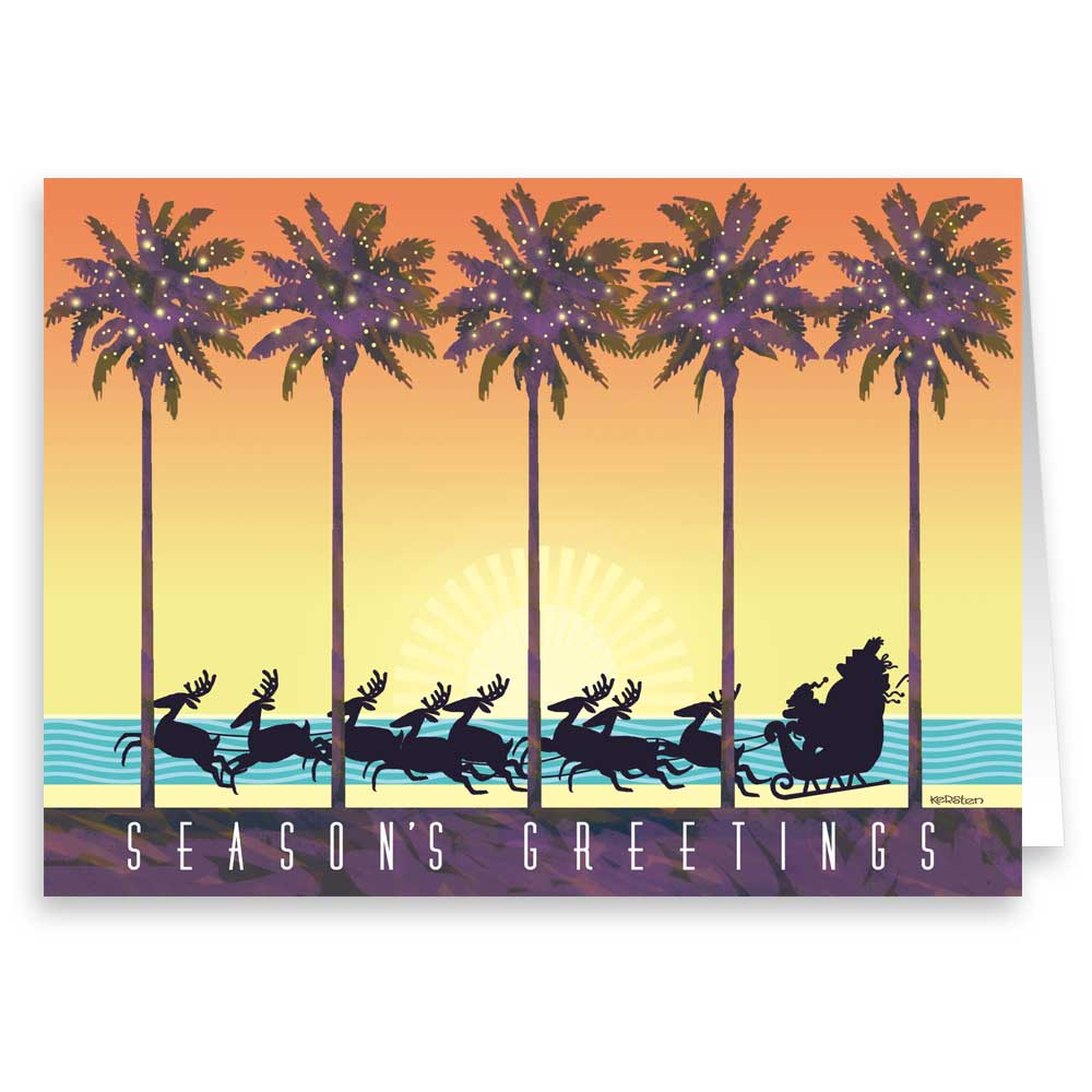 Tropical Theme Christmas Card 18 Cards & Envelopes