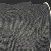 "Charcoal Black Wired Fine Burlap Craft Ribbon 6"" x 20 Yards"