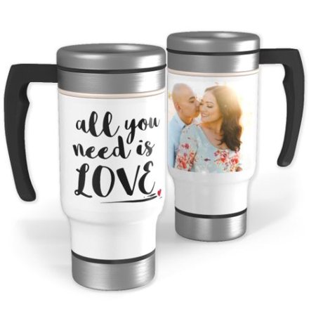Stainless Steel Photo Travel Mug with Handle