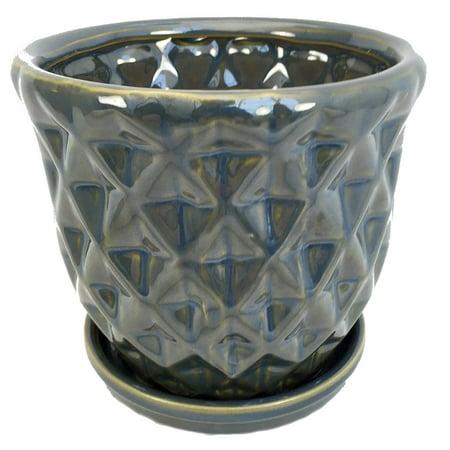 "Sea Green Pineapple Glazed Ceramic Pot/Saucer - 5 1/4"" x 5"" with Felt Feet"