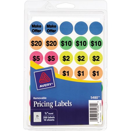 - Avery(R) Assorted Neon Preprinted Removable Garage Sale Labels 5480, 3/4