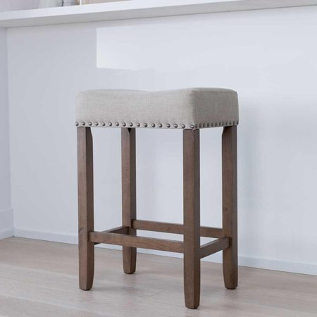 Excellent Hylie Wood Kitchen Counter Stool 24 Pale Beige Upholstered Fabric Cushion Light Brown Finish Ncnpc Chair Design For Home Ncnpcorg