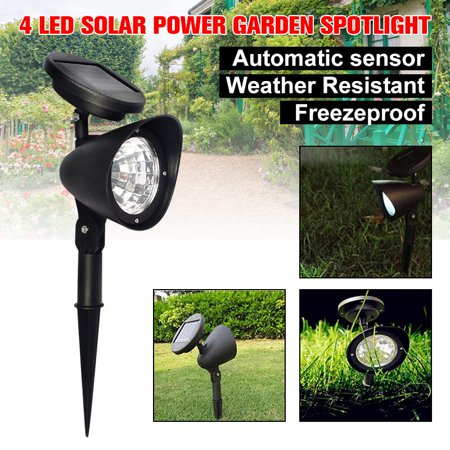2-in-1 Waterproof 4 LED Solar Spotlight Adjustable Landscape Light Security Lighting Dark Sensing Auto On/Off for Patio Deck Yard Garden Driveway Pool Area Adjustable Landscape Spotlight