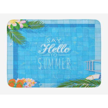 Quote Bath Mat, Say Hello to the Summer Slogan on a Pool with Ladder Flip Flops and Flowers Design, Non-Slip Plush Mat Bathroom Kitchen Laundry Room Decor, 29.5 X 17.5 Inches, Multicolor, Ambesonne