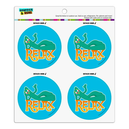 Gumby Says Relax Chill Chillin' Refrigerator Fridge Locker Vinyl Circle Magnet Set