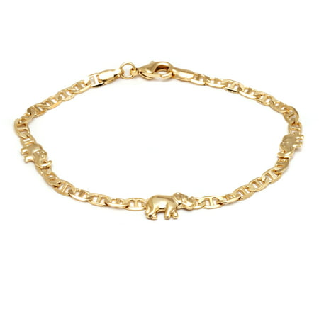 Chain Link Elephant Charm Anklet Made With 18k Yellow Gold Overlay Yellow Gold Singapore Anklet