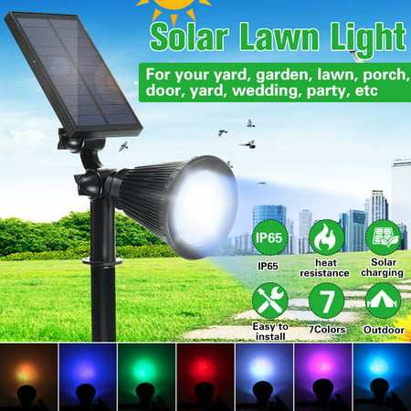 Image of Bright Solar LED Reable Waterproof Solar Powered Spotlight For Garden Pool Pond Yar 7 LED Colorful Solar Powered Lights