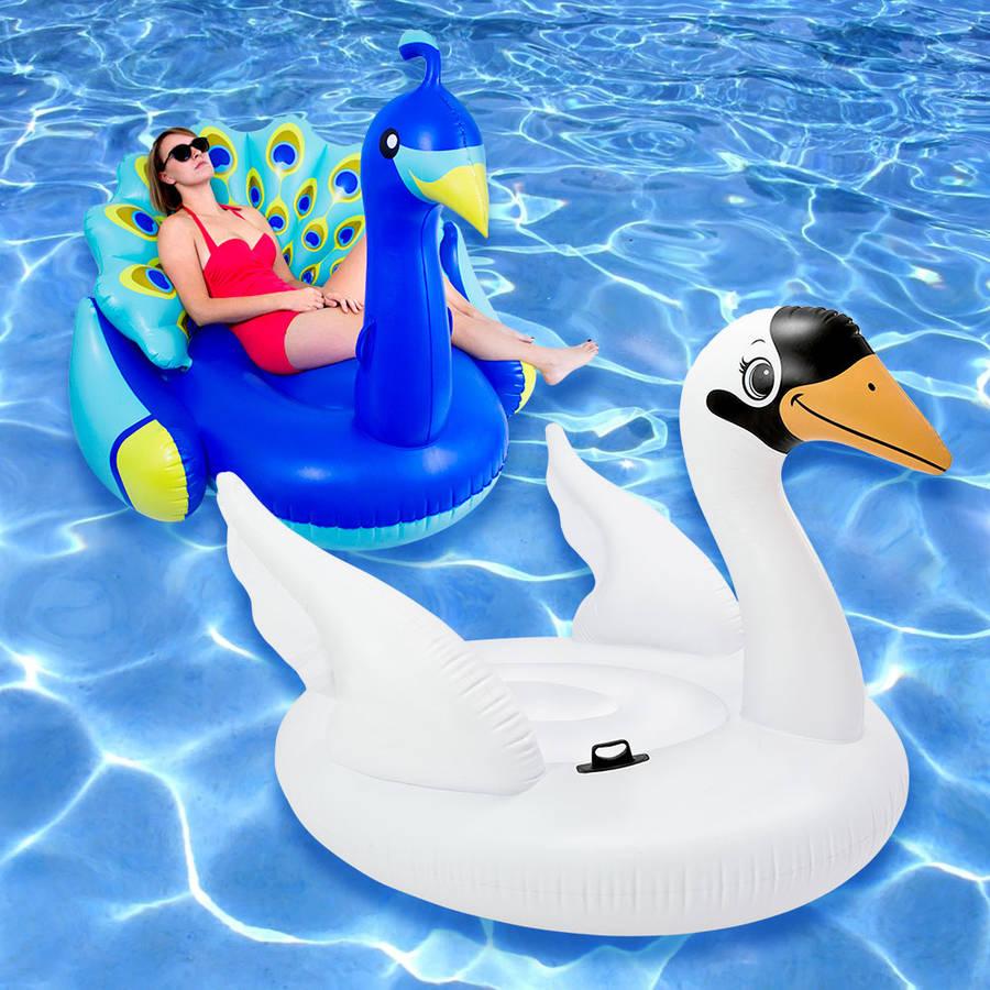 Peacock and Mega Swan Swimming Pool Float, 2-Pack