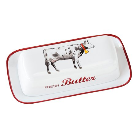 Farmhouse Air Gap Cover - Farmhouse Cow Covered Butter Dish - White Stoneware - By 180 Degrees