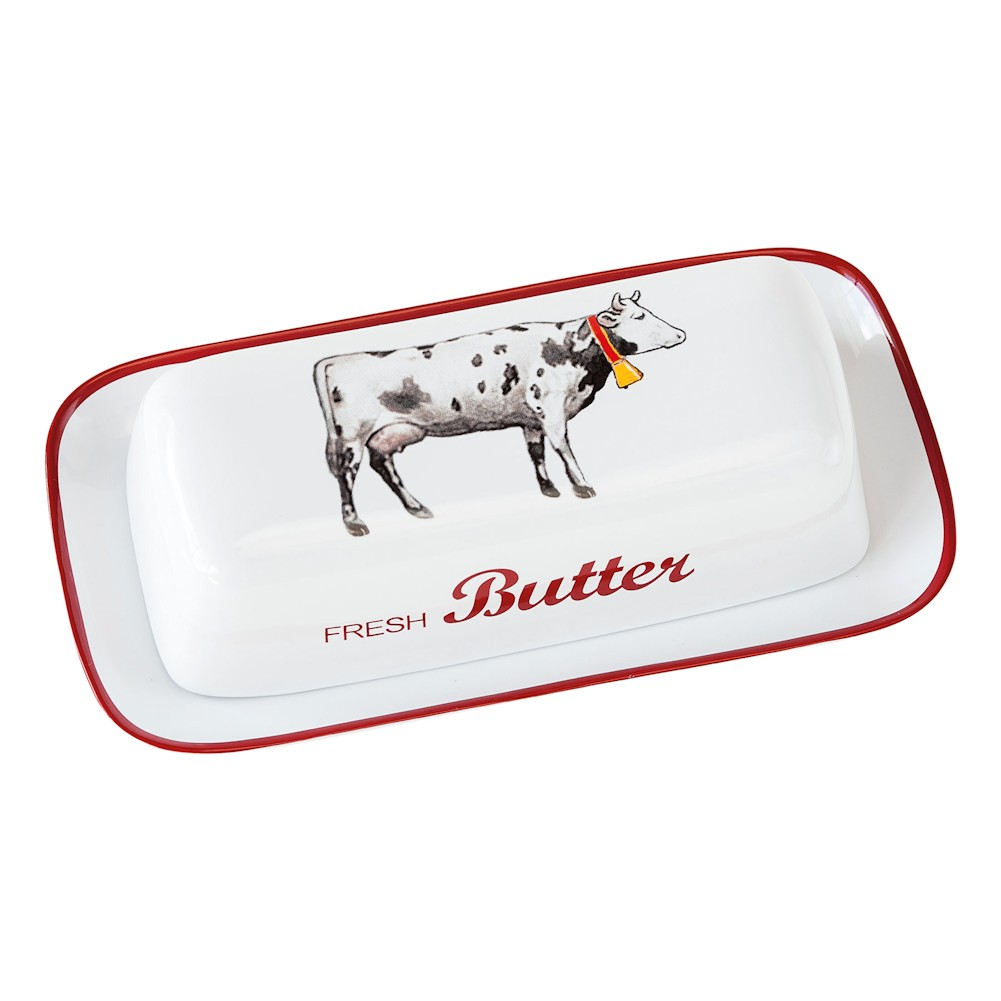 Farmhouse Cow Covered Butter Dish - White Stoneware - By 180 Degrees
