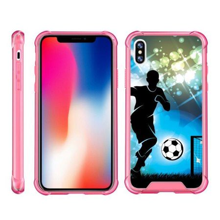 TurtleArmor ®   For Apple iPhone X   Apple iPhone 10 [Clear Bumper Case] Fitted Ultra Slim TPU Case with Pink Edges - Soccer Player