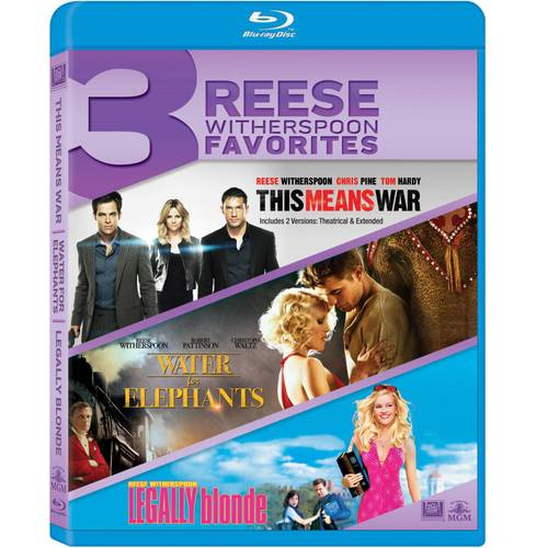 3 Reese Witherspoon Favorites: This Means War / Water For The Elephants / Legally Blonde (Blu-ray)