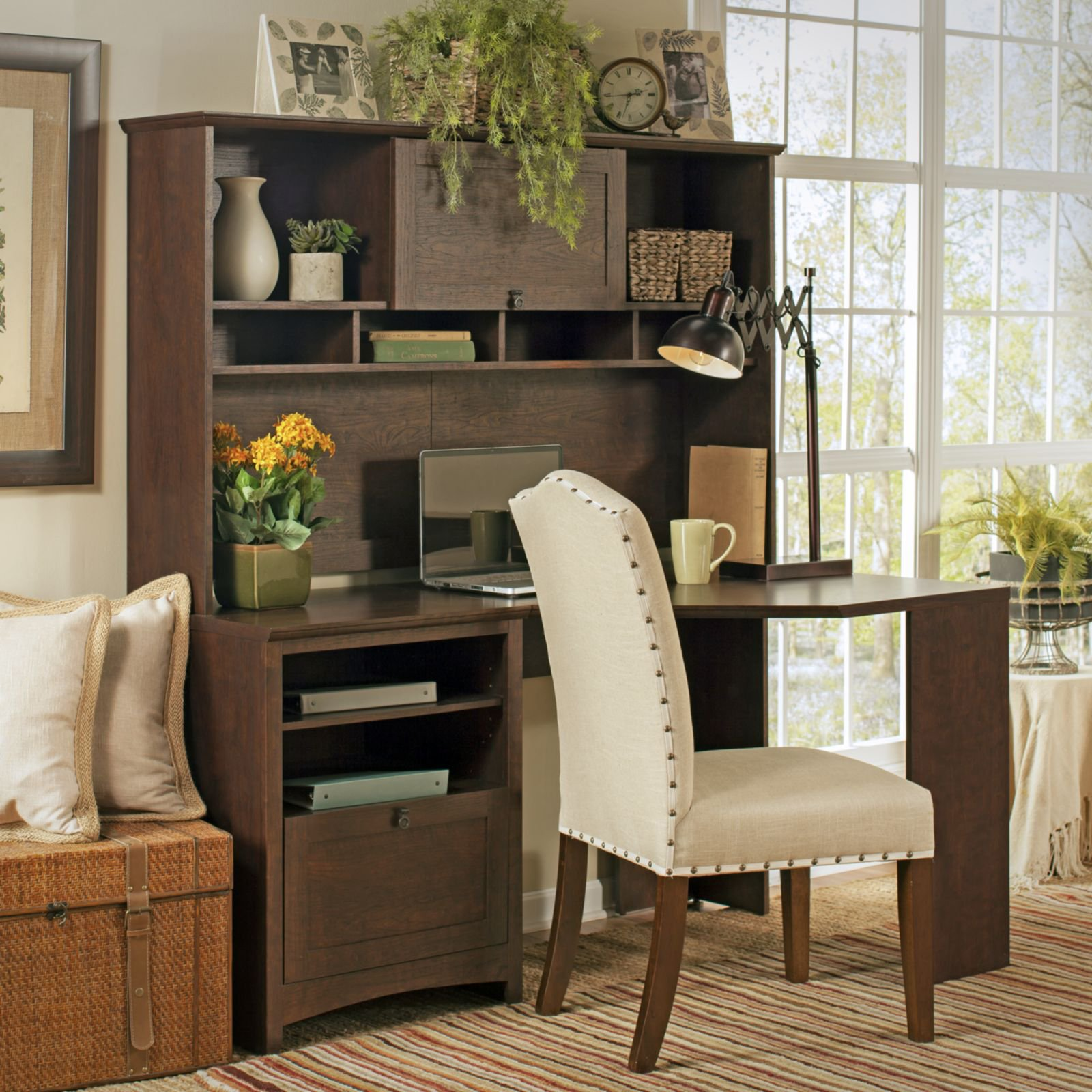 Bush Furniture Buena Vista 60 in. Corner Desk with Hutch - Madison Cherry