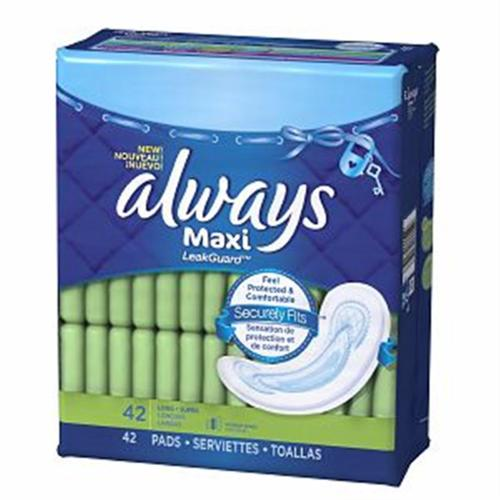 Always Maxi Pads Without Wings, Long-Super 42 ea (Pack of 4)