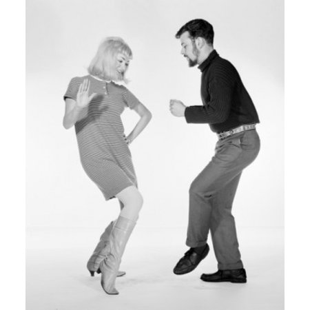 Young couple disco dancing Poster Print (Disco Couple)