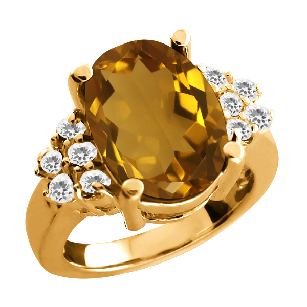 4.70 Ct Oval Champagne Quartz White Topaz Yellow Gold Plated Silver Ring
