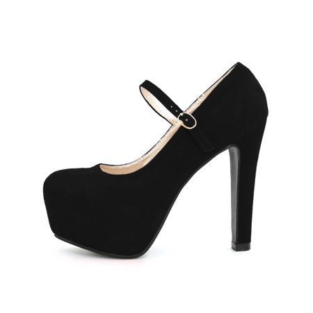 Woman Rounded Toe Chunky Platform Buckle Strap Pumps Black US 9 - image 2 de 7