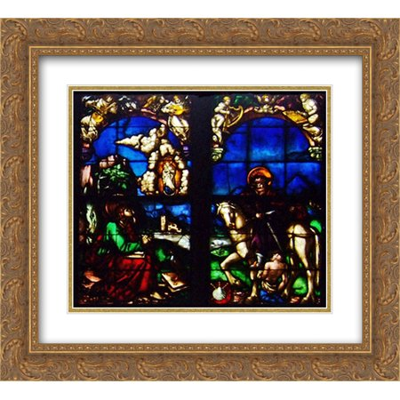 Hans Baldung 2x Matted 22x20 Gold Ornate Framed Art Print 'Western stained glass window in the Loch Family Chapel'