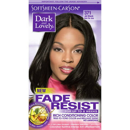 SoftSheen-Carson Dark and Lovely Fade Resist Rich Conditioning Hair Color, Permanent Hair Dye, 371 Jet Black - Glow In The Dark Hair Accessories