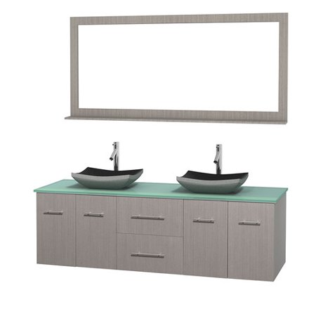 Glass Vanity Countertop (Wyndham Collection Centra 72 inch Double Bathroom Vanity in Gray Oak, Green Glass Countertop, Altair Black Granite Sinks, and 70 inch Mirror )