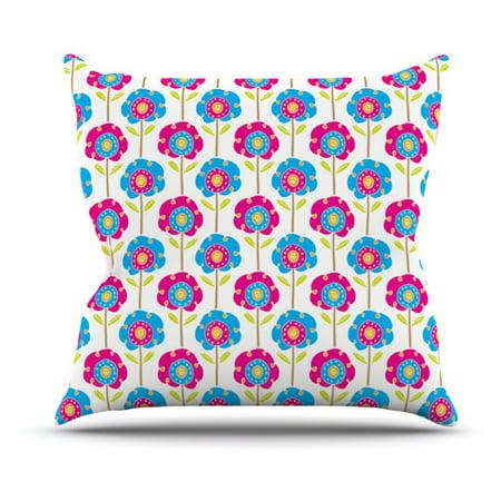Kess Inhouse Apple Kaur Designs Lolly Flowers Blue Pink Indoor Outdoor Throw Pillow