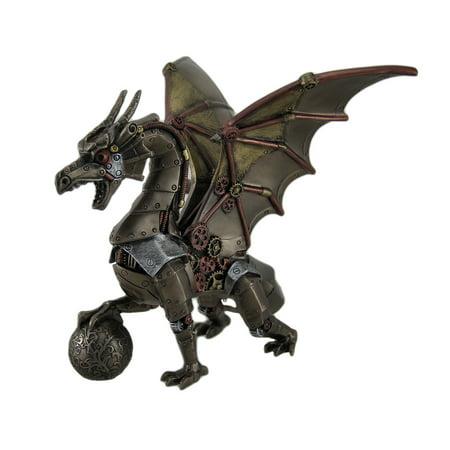 Steampunk Dragon Holding Orb Bronze Finish Fantasy Art Statue