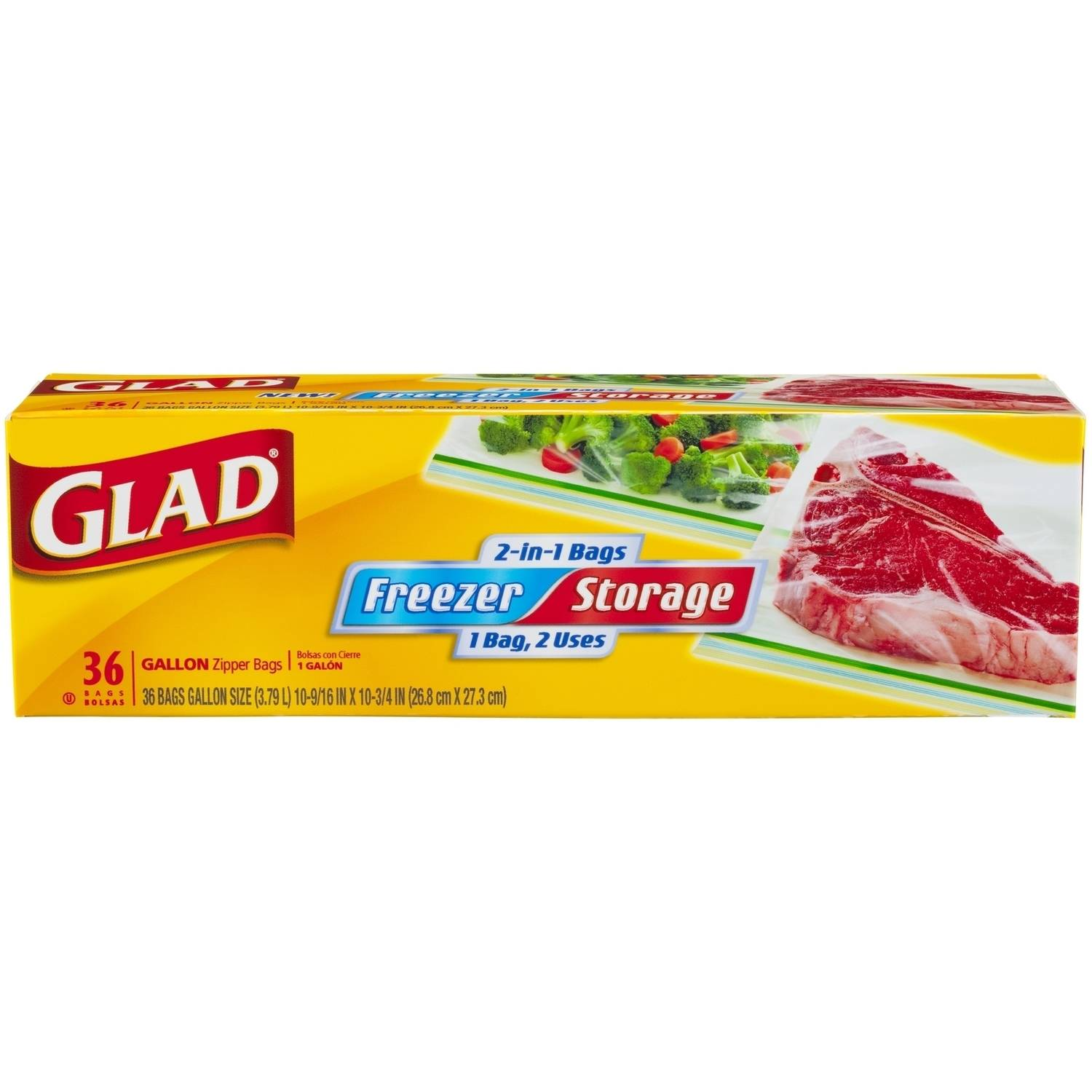 Glad Pinch & Seal 2-in-1 Freezer & Storage Bags, Gallon, 36 Ct