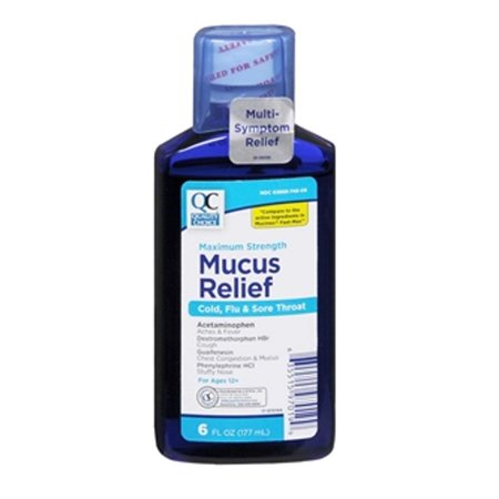 6 Pack Quality Choice Mucus Relief Cold, Flu, & Sore Throat 6 Ounces
