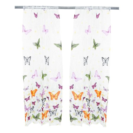 Unique Bargains Home Bathroom 100 x 200cm Polyester Flower Butterfly Pattern Ornament Window Sheer Curtain - image 4 de 4