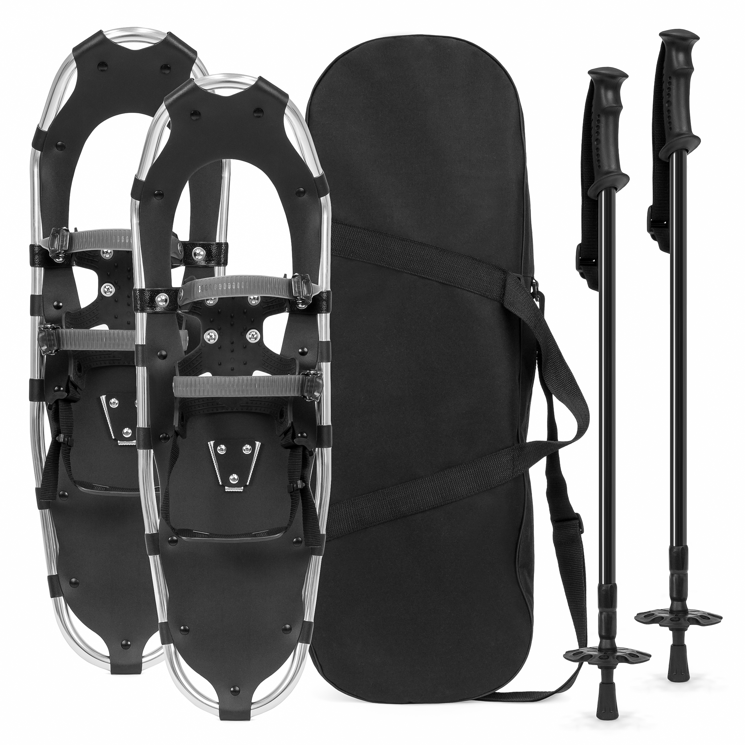 Best Choice Products 25in Unisex Aluminum Terrain Snowshoes Set w/ 2 Adjustable Trekking Poles and Carrying Bag - Silver
