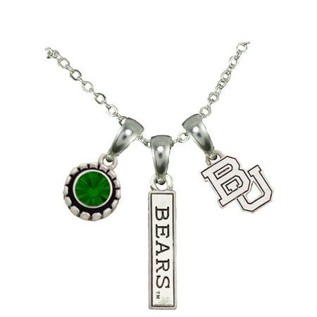 Baylor Bears 3 Charm Silver Chain Green Charm Necklace Jewelry BU.