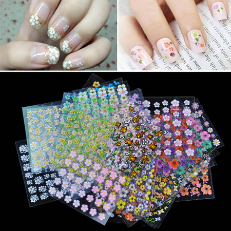 Anself 50/100/200 Sheet 3D Mix Color Floral Design Nail Art Stickers Decals Manicure Beautiful - Fun Halloween Nail Designs