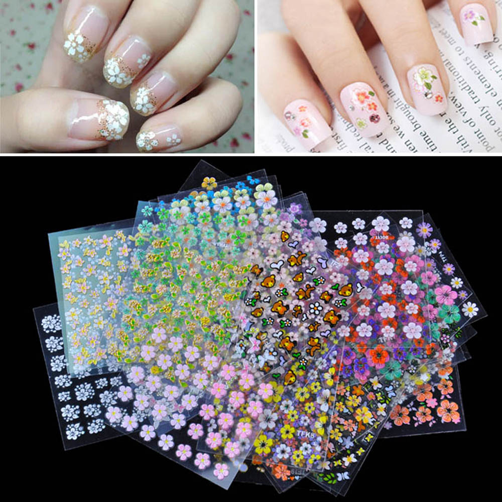 Anself 50 Sheet 3D Mix Color Floral Design Nail Art Stickers Decals Manicure Beautiful