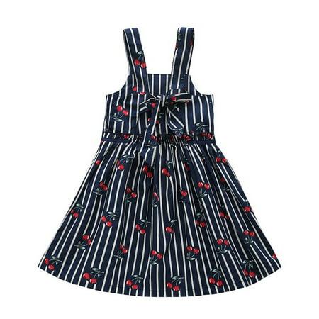 - Baby Toddler Kids Girls Summer Blue Stripe Cherry Printed Sleeveless Dress Skirt