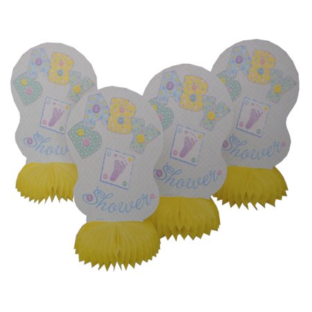Lot of 8 Neutral Yellow Baby Shower Honeycomb Centerpiece Decoration - Baby Shower Decorations Neutral