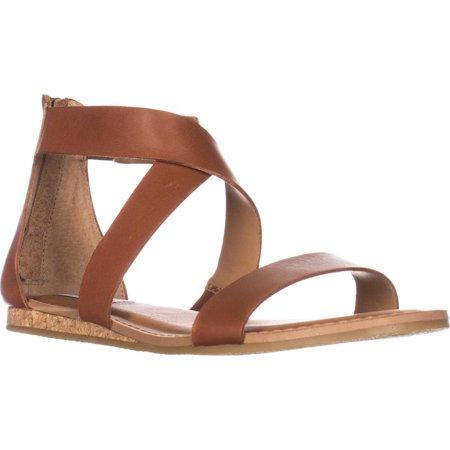 Womens Steve Madden Halley Flat Sandals, Cognac Leather