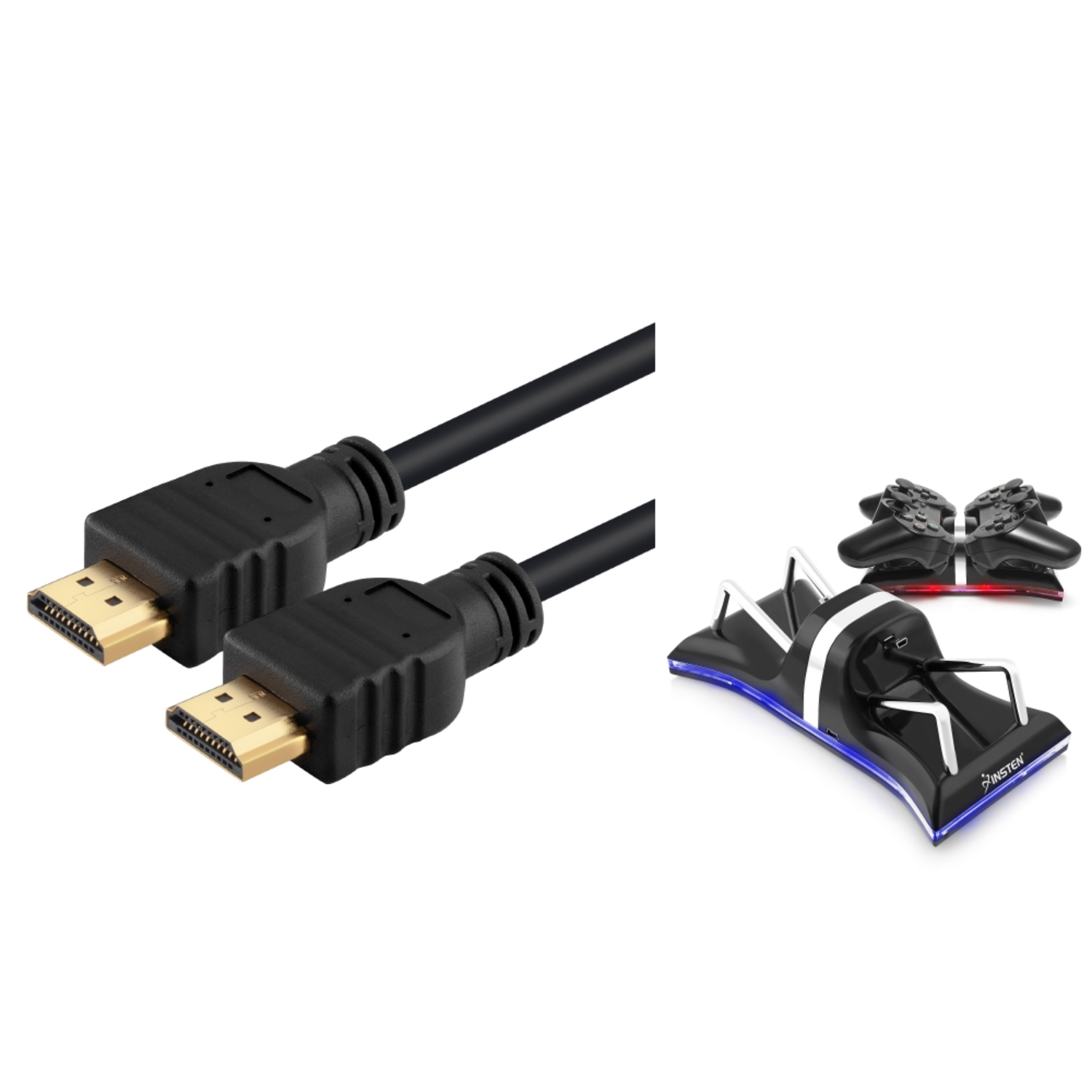 Insten For Sony PS3 Playstation 3 - USB Dual Remote Controller Charger + Hdmi Cable