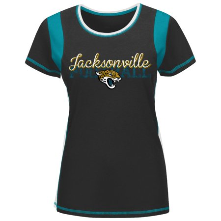 """Jacksonville Jaguars Womens Majestic NFL """"Pride Playing V"""" T-shirt by"""