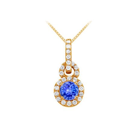 December Birthstone Tanzanite with CZ Halo Pendant in 14K Yellow Gold Vermeil - image 1 of 2