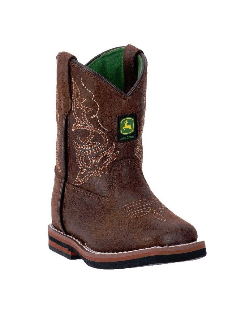 John Deere Western Boots Boys Kids Broad Toe Leather Rust JD1024 by John Deere