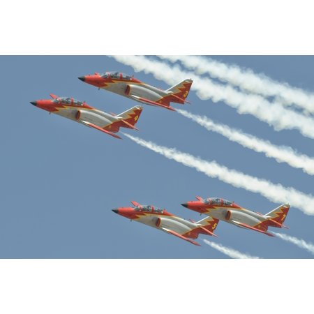 Spanish Air Force Patrulla Aguila performing at an airshow in Morocco Canvas Art - Giovanni CollaStocktrek Images (18 x 12)