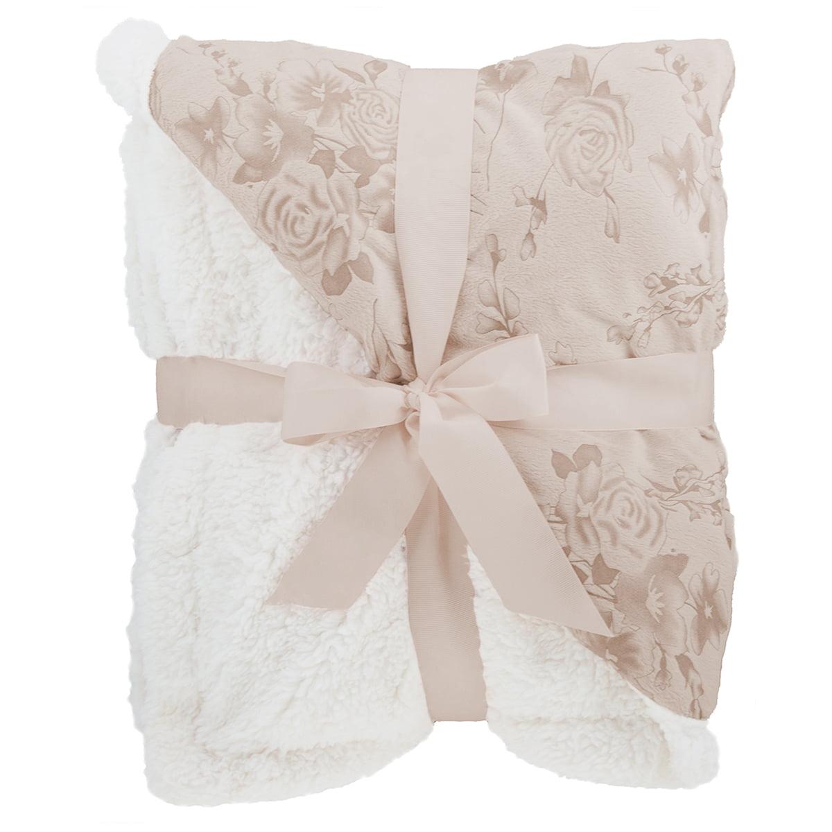 "Sherpa Throw Blanket 50"" x 60"" Plush Fleece Reversible Floral Pattern Fuzzy Soft"
