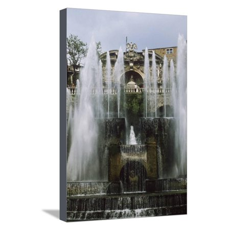 Italy, Tivoli, Water Organ Fountain and Fountain of Neptune at Villa D'Este Stretched Canvas Print Wall (Liszt Fountains Of The Villa D Este)