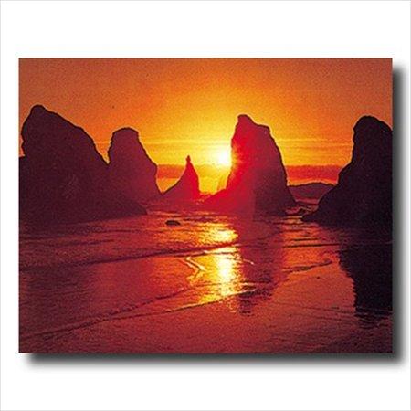 Bandon Beach Ocean Sunset Rock Wall Picture Art Print Ocean Sunset Pictures
