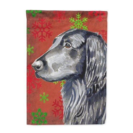 Flat Coated Retriever Red Green Snowflakes Holiday Christmas Flag