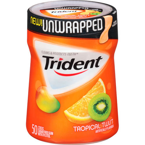 Trident Unwrapped Tropical Twist Sugar Free Gum, 50 ct