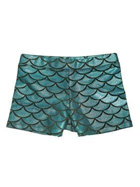HDE Gymnastics Shorts for Girls - Mermaid Dance Shorts Fish Scale Shorts